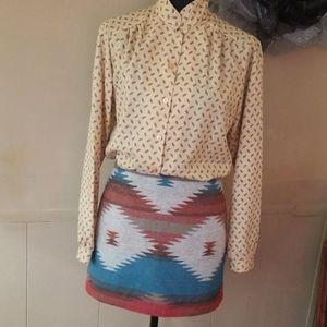 Country Western Aztec Native Blanket Mini Skirt